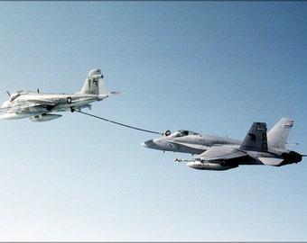 16x24 Poster; A 18C Hornet Aircraft Refueling From A Ka 6D Intruder.Jpeg_Files