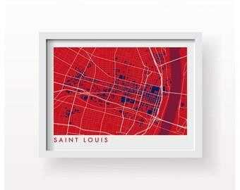 SAINT LOUIS Map Print - graphic drawing art poster St Louis Cardinals