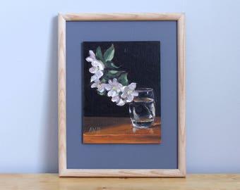 Apple Blossoms Framed Original Oil Painting Framed Still Life by Aleksey Vaynshteyn