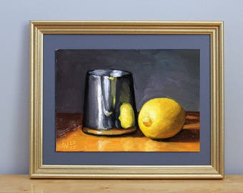 Still Life Painting, Lemon with Metal Cup Original Kitchen Art by Aleksey Vaynshteyn