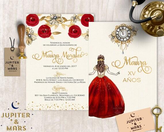 Gold Red Quinceañera Invitation Quinceanera Invitation