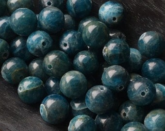 Apatite 8mm Round Natural Teal Apatite Gemstone Beads Grade A Package of Eight Beads