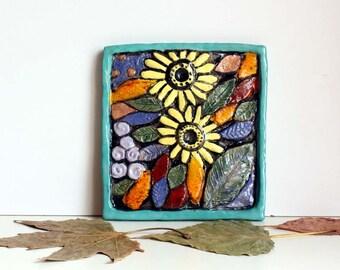 Ceramic tile two sunflowers, Decorative Art, Wall Art