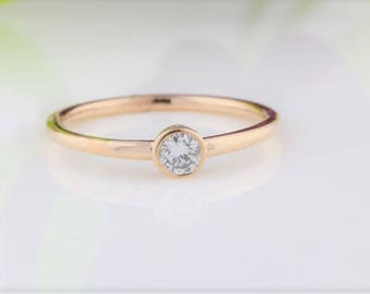 Solitaire Diamond Ring, Round Brilliant Cut Diamond Bezel Ring, 0.15 Carat Diamond Solitaire Promise Ring, Anniversary Ring