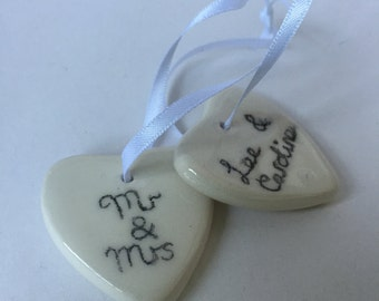 Ceramic gift tags, gift labels, present tags, pottery 9th anniversary, wedding gift