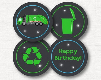 INSTANT DOWNLOAD- Garbage Truck Cupcake Toppers, Garbage Truck Birthday, Garbage Truck Party, printable