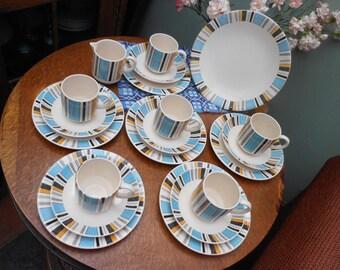 TEA SET REGENCY, 20 pieces - Knightsbridge - Striped pattern - English china - Afternoon tea - Retro tea set - Vintage kitchen - 1950's