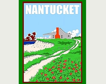 Nantucket Decal - Nantucket Sticker - Vintage Style Nantucket Decal - Nantucket Car Decal - Nantucket RV Decal - Nantucket Laptop Decal  S57