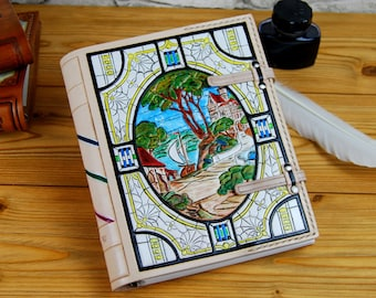 """Gift OOAK Leather Journal Personalized Book Notebook Diary Travel Book Recipes Book Handmade Journal 7""""x9"""" TiVergy Journal"""