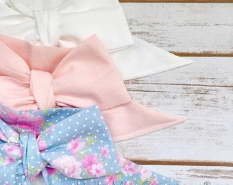 Gorgeous Wrap Trio (3 Gorgeous Wraps)- Blanc, Light Pink & Chambray Floral Gorgeous Wraps; headwraps; fabric head wraps; headbands