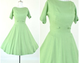 "1950's ""Alison Ayres"" Spring green dress/ sz S - M  (B 34  W 27 ) fit and flare / Vintage 50's LINEN day party dress / pastel /dolman sleeve"