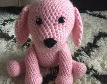 Stuffed Puppy Dog, Crochet, Pink