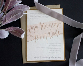Blush and Champagne Wedding Invitation Suite