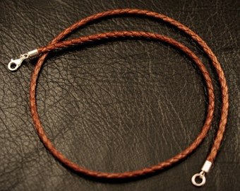 17'' Brown braided leather necklace with 925 sterling silver findings
