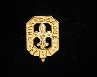 "BOY SCOUT 10K GOLD Badge - ""Thanks"" Gold Honour Badge,  1930's"