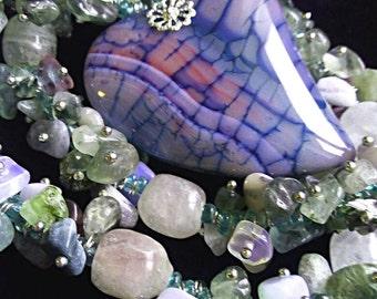 Agate heart pendant beaded necklace purple white pink pendant necklace gift for her purple handmade pink agate fluoride opalite labradorite