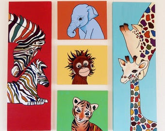 Baby Animals Jungle Themed Wall Art - Original Acrylic Paintings on Canvas - Collection of 5 - EXTRA LARGE