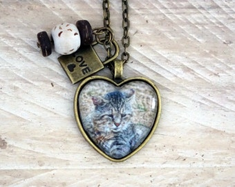 Cat Necklace - Heart Pendant Necklace - Animal Photography - with Pearls and Charm.  B-56