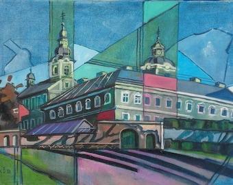 "Original painting ""Monastery"" by Ukrainian artist Vitaliy Panasiuk, mixed media oil acrylic on canvas 60x42 cm 2008"