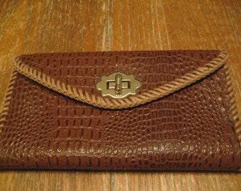 """Vintage Handmade Genuine Alligator Clutch Wallet - 7 3/4"""" X 4 1/4"""" - Lots Of Room - U.S. Seller"""