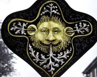 Medieval,Style,Handmade, Greenman, Green Man, Stained Glass Suncatcher