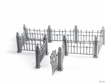 Wrought iron fence  (UNPAINTED) - Miniature tabletop furniture, dungeon decor