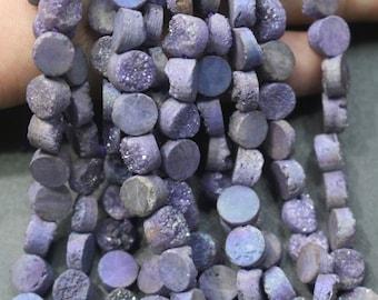 1 strand Druzy Beads, Druzy Quartz Beads,Purple Round Drilled Druzy Beads,Cabochon Beads