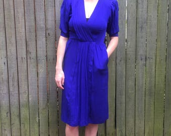 Vintage Emanuel Ungaro Wrap Dress. Royal Blue. Sz.11-12 Designer