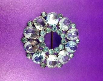Vintage Turquoise Toned Brooch, Open Work Brooch, Large Gemstones, Vintage Wedding, 'Something Blue', Circa 1940