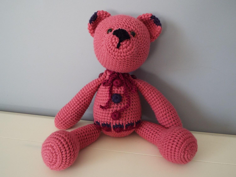 crochet dark pink teddy bear amigurumi doll home decor kids boys