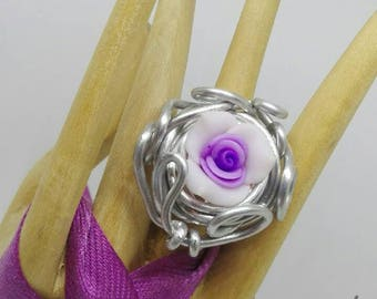 Adjustable silver-wire flower flowery nest in fimo