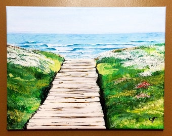 Seascape Painting, Small Wall Art Original on Canvas, Beach Boardwalk, Scenic Decor, Fine Art Landscape Painting - End Of Summer