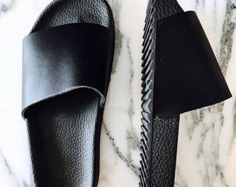 Black platform sliders, black pool slides, flat leather slipper sandals,rubber slipers