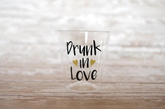 Drunk In Love Vinyl Decals For Ounce Shot Glasses - Vinyl decals for shot glasses