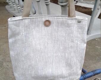Linen/Script Tote, Nat Linen Script Tote Bag, 13w x 14h x 2d, Tote, Bag, pocketbook, Linen Office Tote, Linen Shop Tote, Linen Market Tote