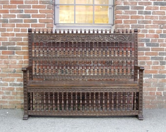 Beautifully Carved Capilla Bench,carved Bench, Indian Bench, spanish Bench, Moroccan Bench, Antique bench, garden bench, European bench