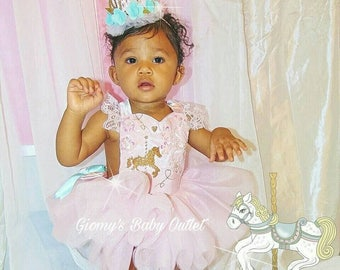 Pink and Gold carrousel baby Outfit