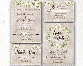 Daisy Wedding Invitation Suite - Rustic Wedding Daisies - Boho Wedding - Country Chic - Natural Barn Wood - Greenery - Garden Wedding - Barn