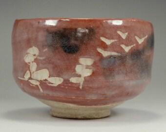 Aka raku chawan - pottery tea bowl for Japanese tea ceremony by Shoraku #2466