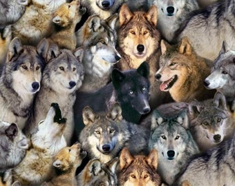 Wolves on Black Quilting Fabric - Fat Quarter or Yardage