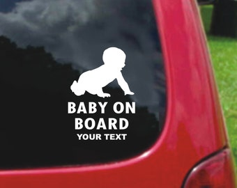 Set (2 Pieces) Baby on Board  With Custom Text  Sticker Decals 20 Colors To Choose From.  U.S.A Free Shipping