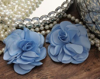 "SET OF TWO - 3 1/2"" Misty Blue Satin / Silk Like Large Flowers - Elegant - Beautiful - Hair Accessories - Wedding - TheFabFind"