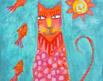 Original Kitty Cat Folk Art Painting on Wood - Free Shipping US