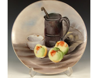 Vintage Collectible 8 inch plate Signed Robin Mara Still Life Apples with a bowl and pitcher