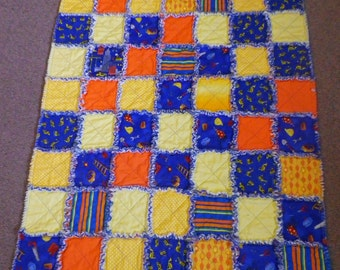 Boy's rag quilt - bulldozers & buildings