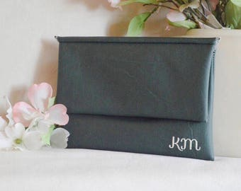Green monogram clutch - personalized bohemian bag - clutch purse - bridesmaid wedding clutch - color block fold over clutch - bridal clutch