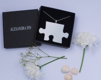 White puzzle necklace, stainless steel necklace, wood necklace, puzzle piece necklace, bling necklace- long chain necklace