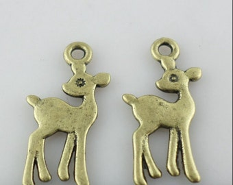 15/60/500pcs Ancient bronze deer Charms Pendants For Jewelry Design