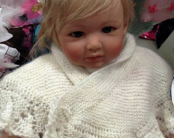 Lace Christening Cape/Shawl for Newborn to 3 months Baby or Doll