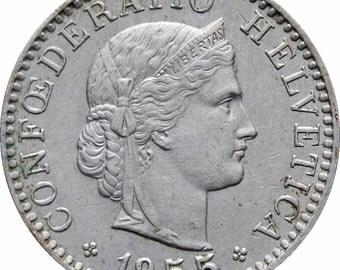 1955 Switzerland 20 Rappen Coin
